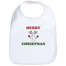 Merry Christmas Snowman Bib