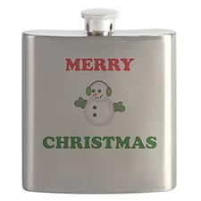 Merry Christmas Snowman Flask