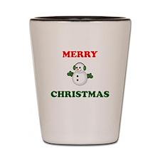 Merry Christmas Snowman Shot Glass