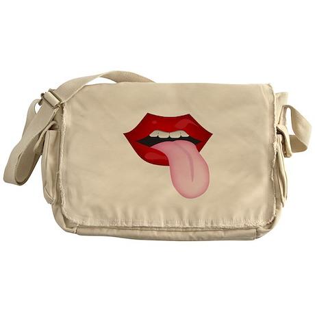 Tongue Out Canvas Messenger Bag