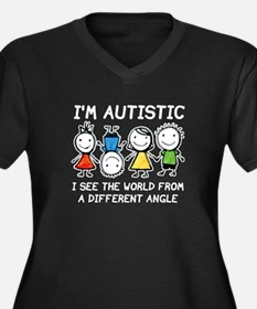 I'm Autistic Women's Plus Size V-Neck Dark T-Shirt