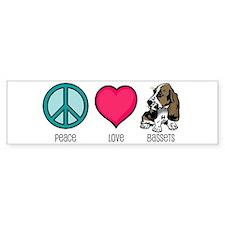 Peace Love & Bassets Bumper Bumper Sticker