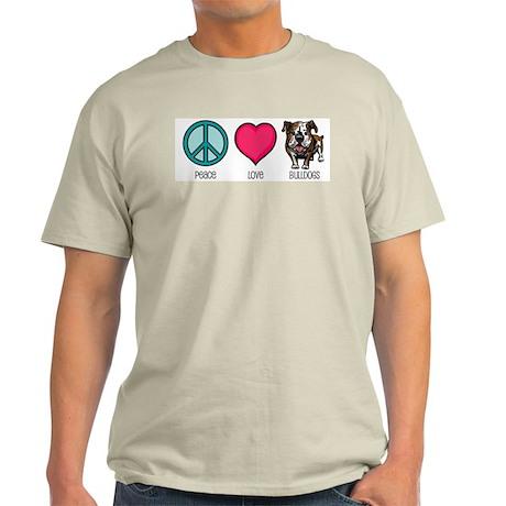 Peace Love & Bulldogs Ash Grey T-Shirt