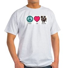 Peace Love & Bulldogs Ash Grey T-Shirt