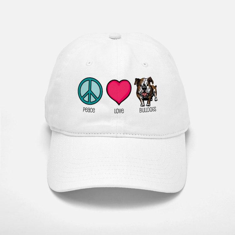 Peace Love & Bulldogs Baseball Baseball Cap