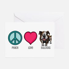 Peace Love & Bulldogs Greeting Cards (Pk of 10
