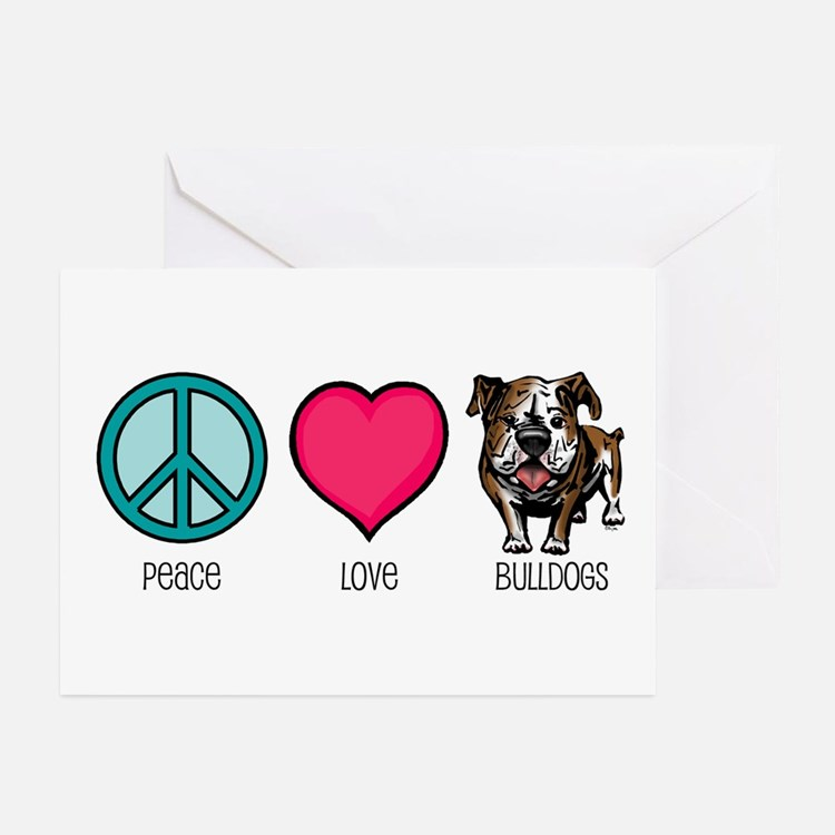 Peace Love & Bulldogs Greeting Cards (Pk of 10