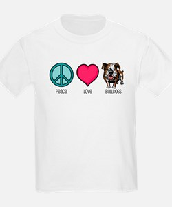 Peace Love & Bulldogs Kids T-Shirt