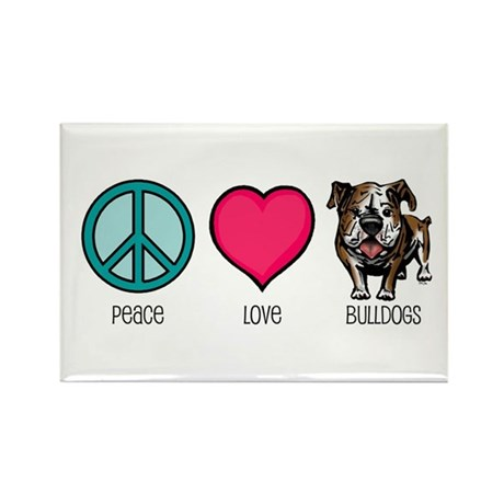 Peace Love & Bulldogs Rectangle Magnet