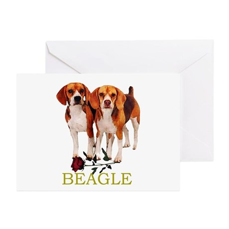 Beagle Valentines Love Heart Greeting Cards (Packa