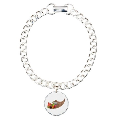 Squirrel in Cornucopia Charm Bracelet, One Charm