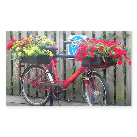 English Flower Bike Sticker (Rectangle)