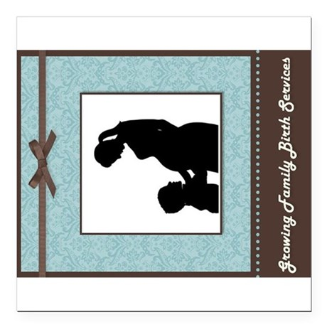 """Growing Family 2 Square Car Magnet 3"""" x 3"""""""