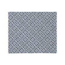 Navy Blue Greek Key Pattern Throw Blanket