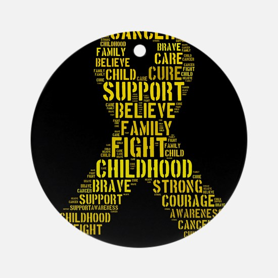Childhood Cancer Word Shape Ornament (Round)