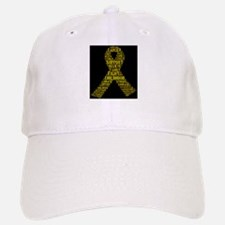 Childhood Cancer Word Shape Baseball Baseball Baseball Cap