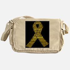Childhood Cancer Word Shape Messenger Bag