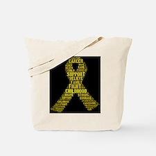 Childhood Cancer Word Shape Tote Bag