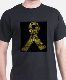 Childhood Cancer Word Shape T-Shirt