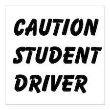 "Caution Student Driver Square Car Magnet 3"" x 3"""