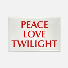 PEACE-LOVE-TWILIGHT-OPT-RED Rectangle Magnet