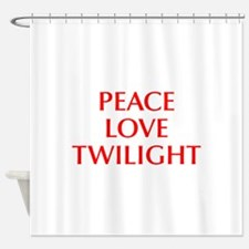 PEACE-LOVE-TWILIGHT-OPT-RED Shower Curtain