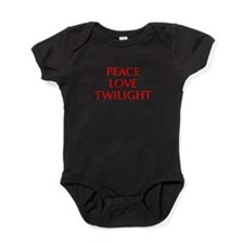 PEACE-LOVE-TWILIGHT-OPT-RED Baby Bodysuit
