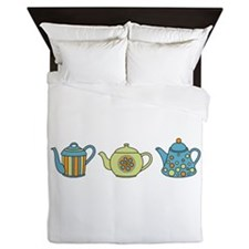 Teapot Border Queen Duvet