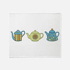 Teapot Border Throw Blanket