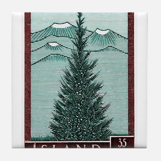 Vintage 1957 Iceland Spruce Tree Postage Stamp Til