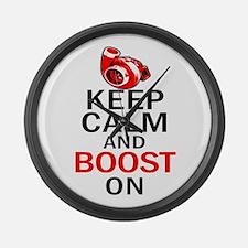 Turbo Boost - Keep Calm Large Wall Clock