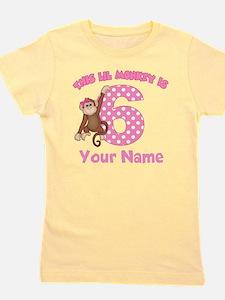 6th birthday monkey girl Girl's Tee