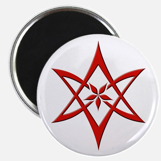 Red Curved Unicursal Hexagram Magnet