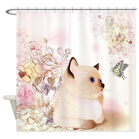 Cute Siamese Kitten Shower Curtain By BestShowerCurtains