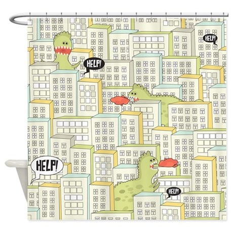 Monsters Attack City Shower Curtain