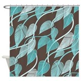 Brown and turquoise Shower Curtains