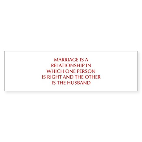 marriage-is-a-relationship-OPT-RED Bumper Sticker