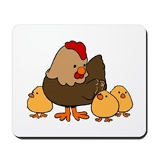 Chicken with Baby Chicks Mousepad