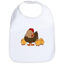 Chicken with Baby Chicks Bib