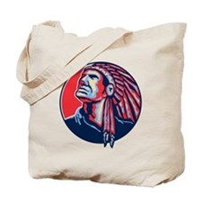 Native American Indian Chief Retro Tote Bag
