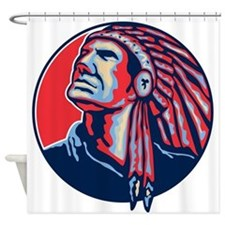 Native American Indian Chief Retro Shower Curtain