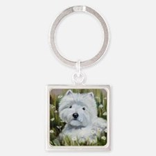Amongst Daisies Square Keychain