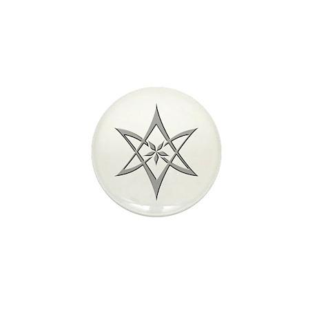 Steel Curved Unicursal Hexagram Mini Button