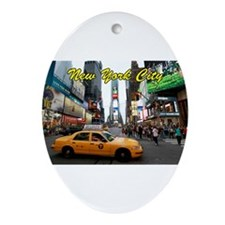 Iconic! Times Square New York-Pro Ornament (Oval)