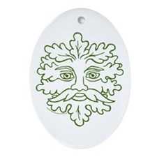Weathered GreenMan Oval Ornament