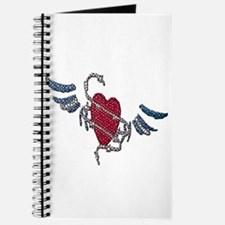 LEATHER HEART-WINGS-TILED Journal