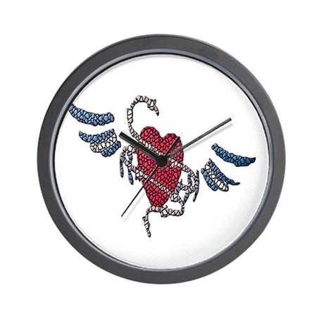 LEATHER HEART-WINGS-TILED Wall Clock