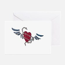 LEATHER HEART-WINGS-TILED Greeting Cards (10Pack