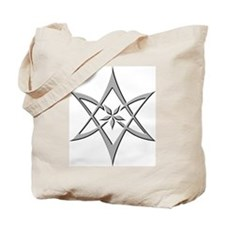 Gray Curved Unicursal Hexagram Tote Bag