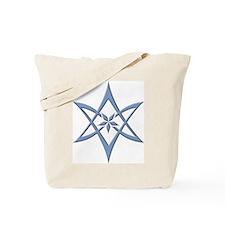 Blue Curved Unicursal Hexagram Tote Bag